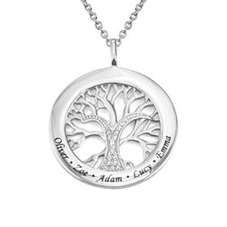 Family Tree Circle Necklace with Cubic Zirconia in Sterling Silver product photo