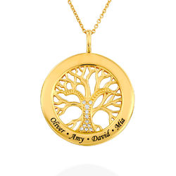 Family Tree Circle Necklace with Lab Diamond in Gold Plating product photo