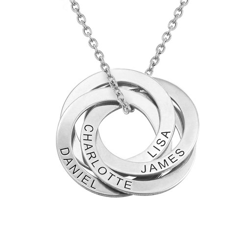 4 Russian Rings Necklace in Sterling Silver product photo