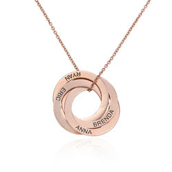 4 Russian Rings Necklace in Rose Gold Plating product photo