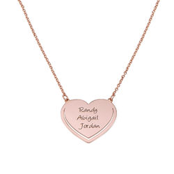Personalized Heart Necklace in Rose Gold Plating product photo