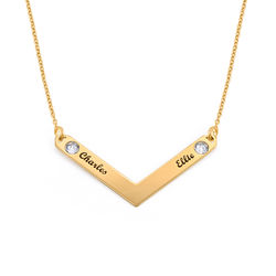 Birthstone Personalized Family Necklace in Gold Plating product photo