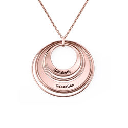 Engraved Two Ring Necklace in 18K Rose Gold Plating product photo