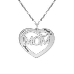 Mom Heart Necklace with Kids Names in Sterling Silver product photo
