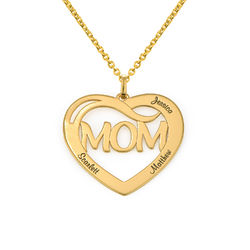 Mom Heart Necklace with Kids Names in 18K Gold Plating product photo