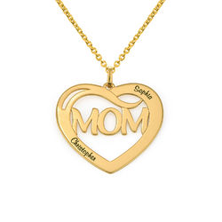 Mom Heart Necklace with Kids Names in 18K Gold Vermeil product photo