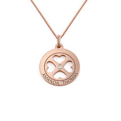 Four Leaf Clover Heart in Circle Pendant Necklace in 18k Rose Gold Plated - Mini design product photo