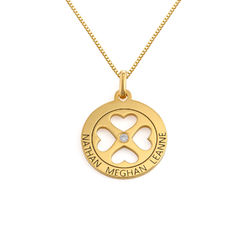 Four Leaf Clover Heart in Circle Pendant Necklace in 18k Gold Vermeil - Mini design product photo