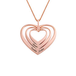 Family Hearts necklace in 18k Rose Gold Plating - Mini design product photo