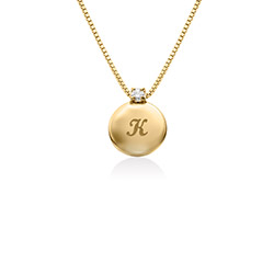 Small Circle Initial Necklace with Diamond in Gold Vermeil product photo