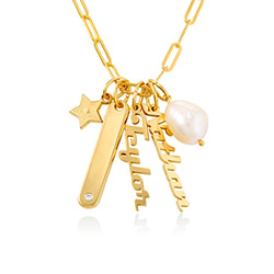 Siena Chain Bar Necklace in 18k Gold Plating product photo