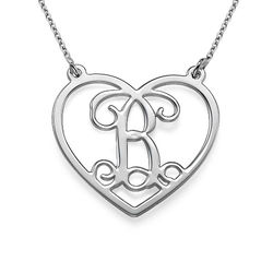 Sterling Silver Heart Initial Necklace Monogram product photo