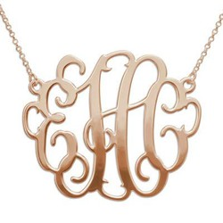 XXL Large Monogram Necklace in 18K Rose Gold Plated Silver product photo