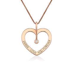 Personalized Love Necklace with Diamond in Rose Gold Plating product photo