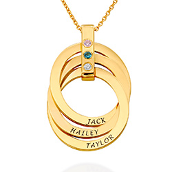 Russian Ring Necklace with Birthstones in Gold Plating product photo