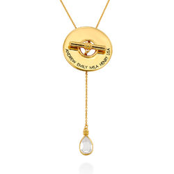 Diana Lariat Engraved Necklace in Gold Plating product photo