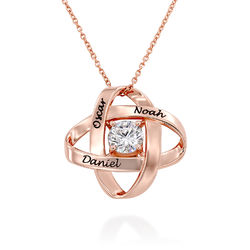 Engraved Eternal Necklace with Cubic Zirconia in Rose Gold Plating product photo