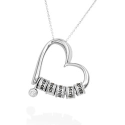 Sweetheart Necklace with Engraved Beads & Diamond in Sterling Silver product photo