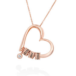 Charming Heart Necklace with Engraved Beads & Diamond in Rose Gold Plating product photo