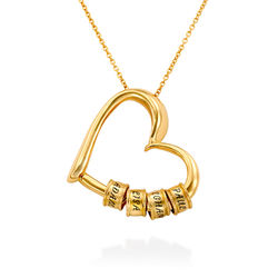 Charming Heart Necklace with Engraved Beads in Gold Vermeil product photo