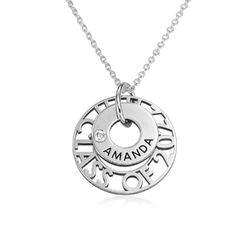 custom graduation pendant necklace with cubic zirconia in sterling silver product photo