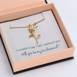 The Bridesmaid's Rose - Initial Charms Necklace in 18K Gold Plating product photo