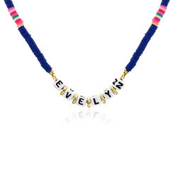 Royal Blue Custom Beaded Name Necklace in Gold Plating product photo