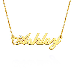 Small Classic Name Necklace with 5 Points Carats Diamond in Gold Plated product photo