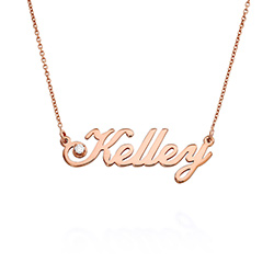 Small Classic Name Necklace with 5 Points Carats Diamond in Rose Gold Plating product photo