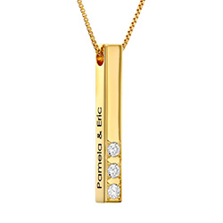 Vertical 3D Bar Necklace in Gold Plating with 0.10-0.30 CT. T.W Lab-Created Diamonds product photo