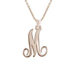18k Rose Gold Plated Monogram Single Initial Necklace product photo