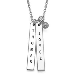 Engraved Name Tag Necklace - Sterling Silver product photo