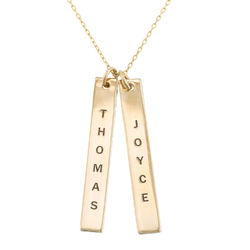 Engraved Vertical Bar Necklace in 10K Solid Gold product photo