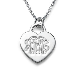 Engraved Monogram Heart Necklace product photo