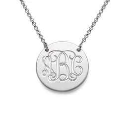 Sterling Silver Disc Necklace - Monogram product photo