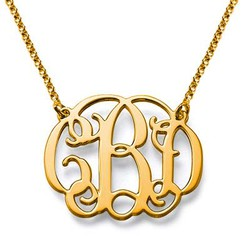 18k Gold Plated Celebrity Monogrammed Necklace product photo