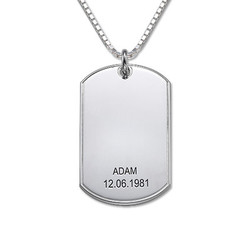 Personalized Silver Dog Tag Necklace product photo