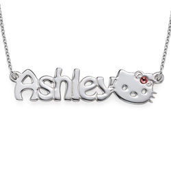 Girls Kitten Name Necklace product photo