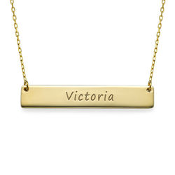 Engraved Bar Necklace in 10k Gold product photo