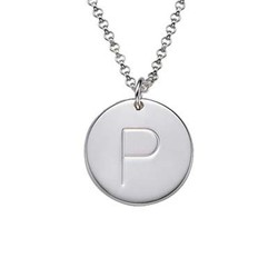 Silver Initial Pendant with Crystal product photo