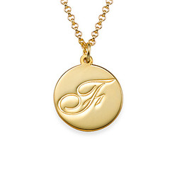 18k Gold Plating Script Initial Necklace product photo