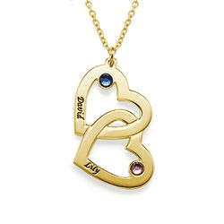 18k Gold-Plated Heart in Heart Necklace with Birthstones product photo