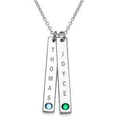 Sterling Silver Personalized Bar of Love Necklace with Swarovski Stone product photo