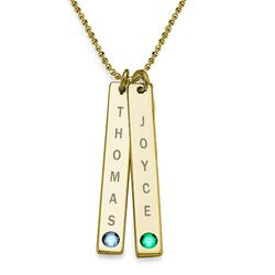 Birthstone Vertical Bar Necklace For Mothers in 18k Gold Vermeil product photo