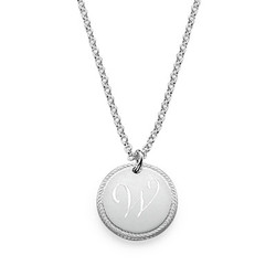 Sterling Silver Circle Initial Necklace product photo