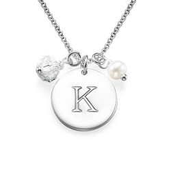 Silver Initial Disc Necklace product photo