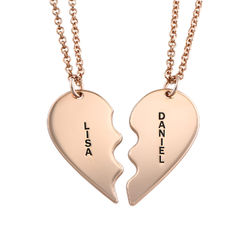Broken Heart Necklace for Couples in Rose Gold Plated product photo