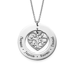 Silver Heart Family Tree Necklace product photo