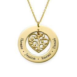 Heart Family Tree Necklace in 18k Gold Plating product photo