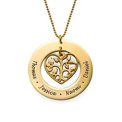 Heart Family Tree Necklace in 10k Gold product photo